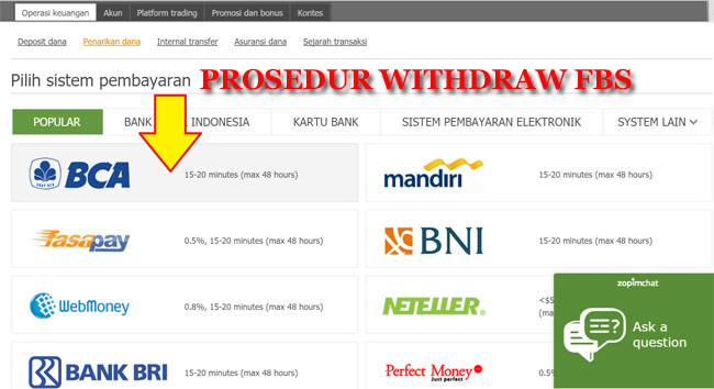 Prosedur withdraw FBS