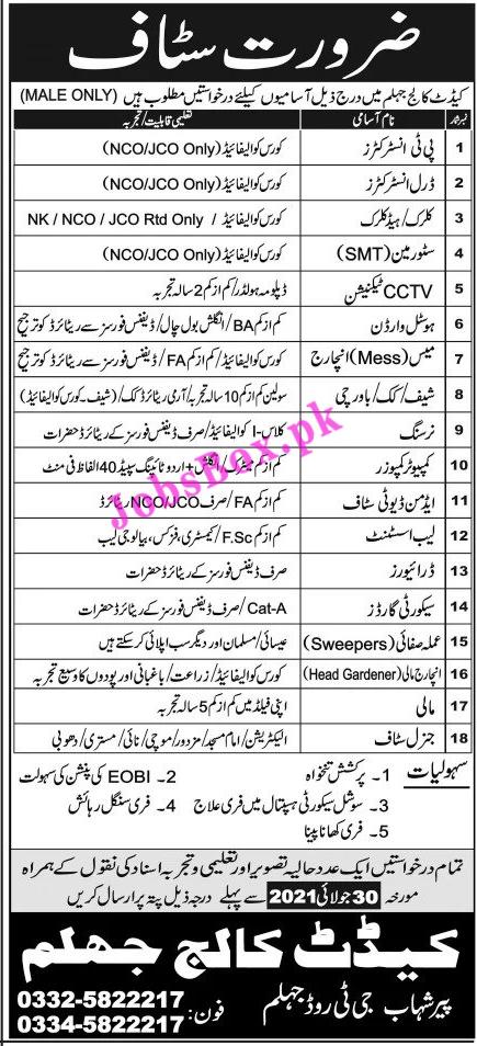 www.ccj.edu.pk Jobs 2021 - Cadet College Jobs 2021 in Pakistan