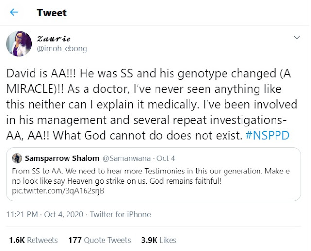 Little boy's genotype reportedly changes from SS to AA