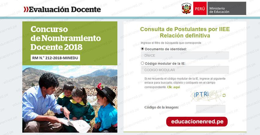 MINEDU Relación de postulantes por Institución Educativa (Relación Definitiva - Nombramiento Docente) www.minedu.gob.pe