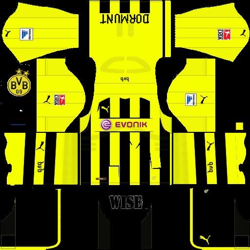 new style 68b3e b3569 Kits FTS y DLS NICARAGUA: Kit Retro Borussia Dortmund 2012/13
