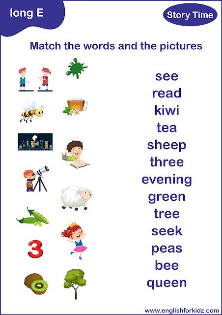 Long E sound words - printable matching worksheet