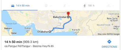 Chahbahar to Balochistan route followed by Kulbhushan