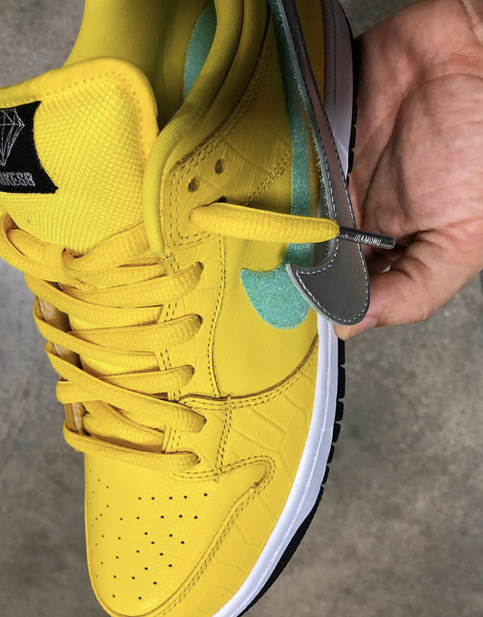 timeless design f0e8b fd066 ... metallic silver Swoosh branding. The yellow upper is complimented with  a Tiffany-colored Velcro and foot bed to stay true to the original release.