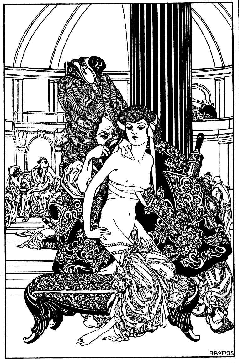Franz von Bayros, a court member inspects the king's next concubine for acceptable suitability