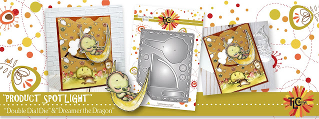 TLCDESIGNS.SHOP ad for Double Dial Die and Dreamer the Dragon interactive card project