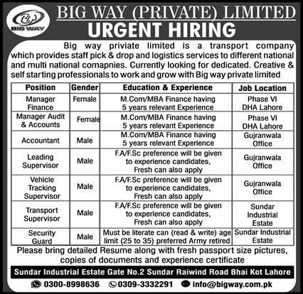 Big Way Private Limited Jobs 2021 - Jobs in Lahore 2021 - Jobs in Gujranwala 2021 - Jobs in Punjab 2021