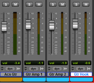 A section of the Pro Tools Mix Window