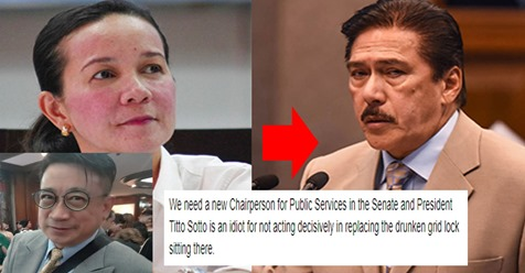 "Netizen calls SP Tito Sotto ""idiot"" for not replacing Grace Poe as chair of public services, says emergency powers is necessary to solve MM traffic 