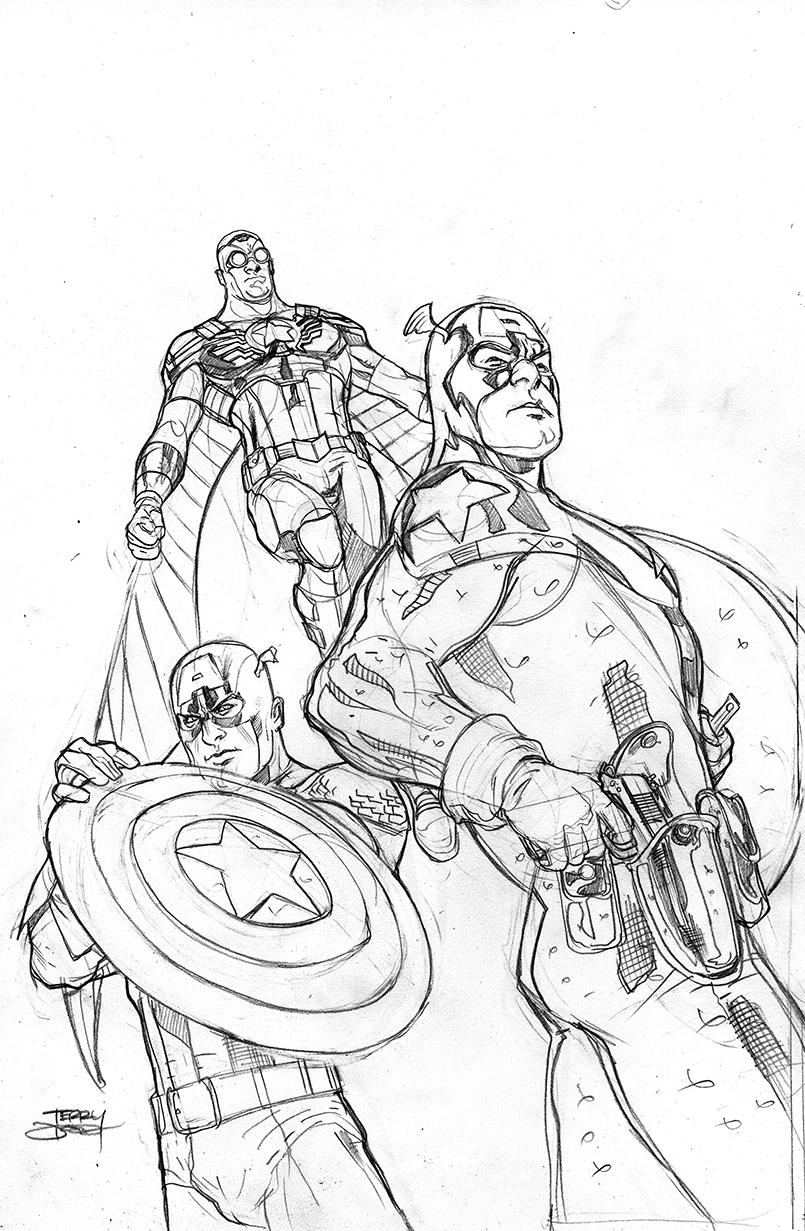 Line Art America : The bombshellter captain america th cover art step by