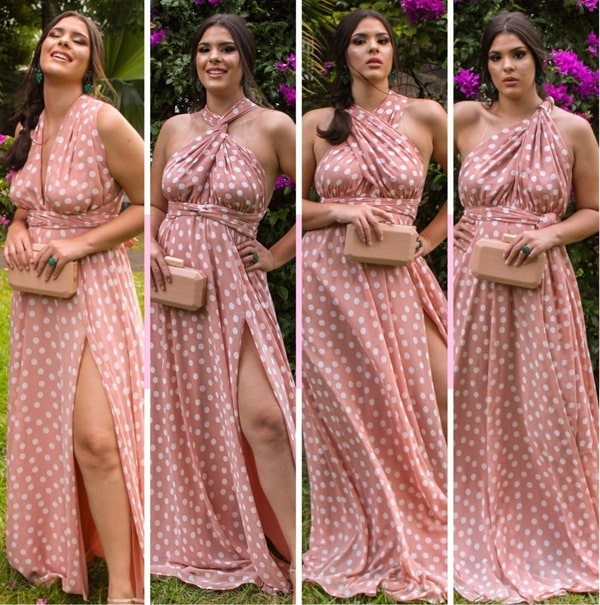 vestido de festa longo rosa de bolinhas modelo multiformas