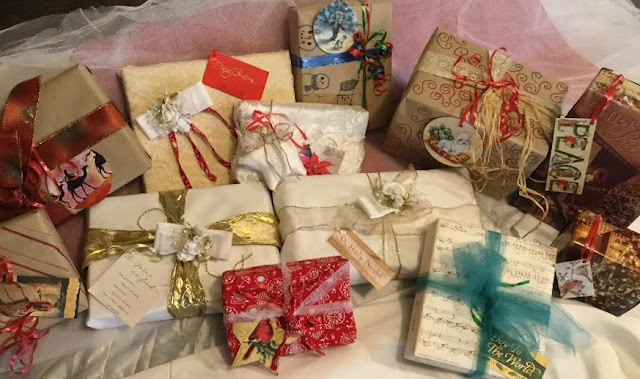 Homemade gift wrap, fabric and craft paper