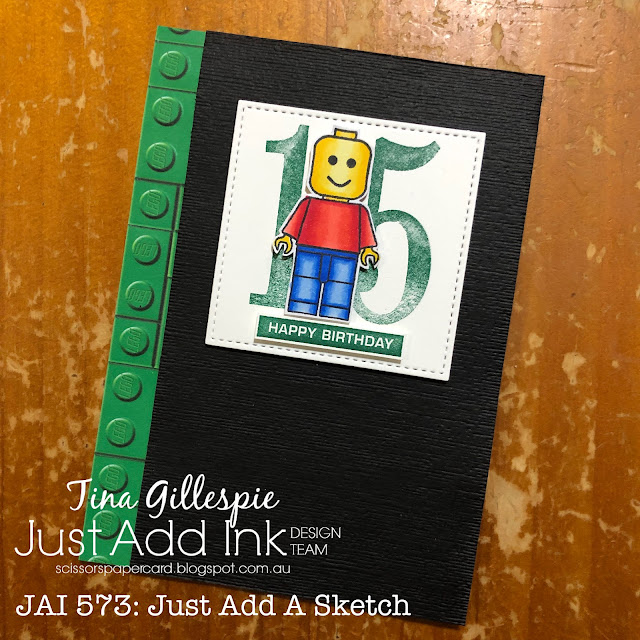 scissorspapercard, Stampin' Up!, Kindred Stamps, Just Add Ink, Building Blocks, Number Of Years, Label Me Bold, Subtle 3DEF, Stitched Shapes Dies, Pop Culture Card