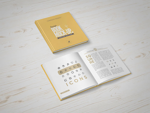 Square Book Mock-Up PSD