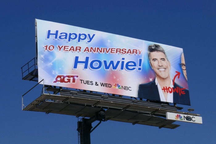 Happy 10 Year Anniversary Howie AGT billboard