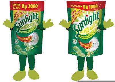 Contoh design baju kostum (Pakaian) badut maskot promosi sunlight