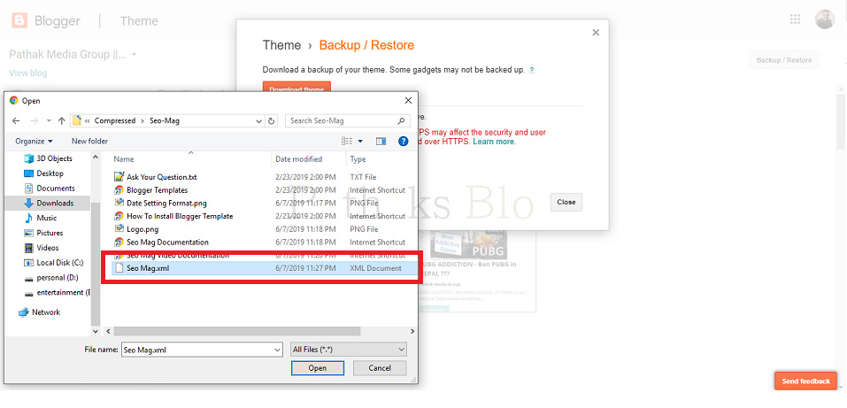 How To Upload Custom Template To Blogger, choose XML file of the blogger template, anil pathak, pathaks blog