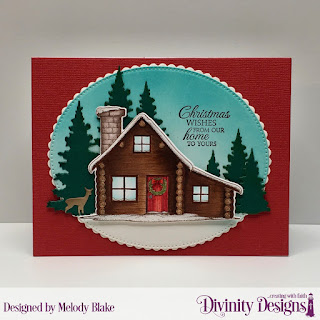 Stamp/Die Duo: Home for Christmas  Custom Dies:  Scalloped Ovals, Pierced Ovals, Trees & Deer