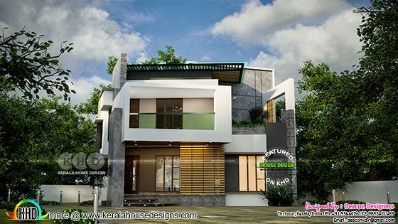 Unique modern house rendering