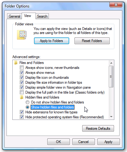 Kotak Dialog Folder Options