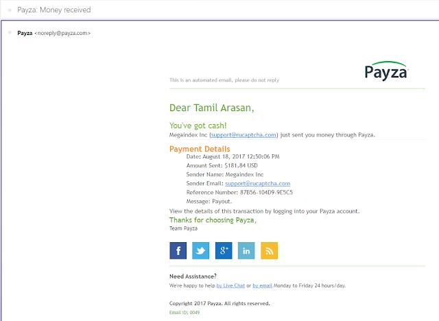 2Captcha payment proof mail