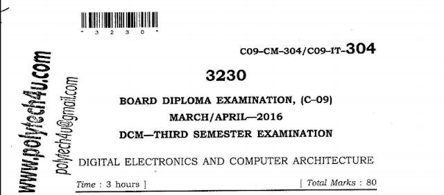 SBTET AP C-09 DIGITAL ELECTRONICS AND COMPUTER ARCHITECTURE PREVIOUS QUESTION PAPER