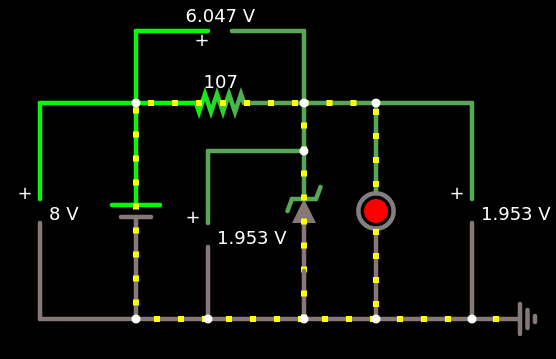 LED vermelho em paralelo com o diodo zener