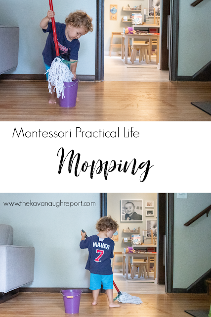A look at a fun Montessori practical life work - mopping - at 2 years old.