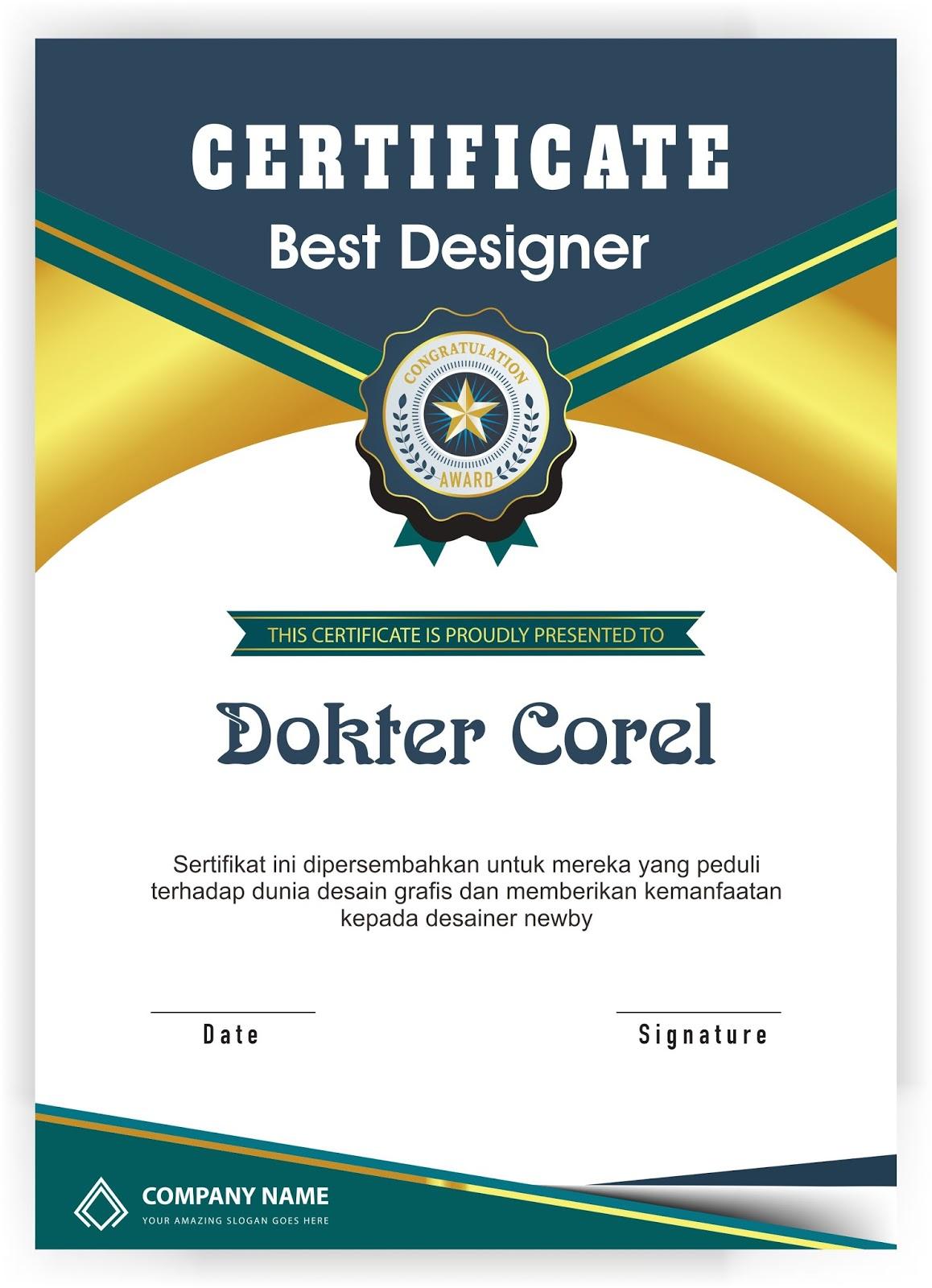 Desain Bingkai Piagam dan Sertifikat Terbaik   Dokter Corel