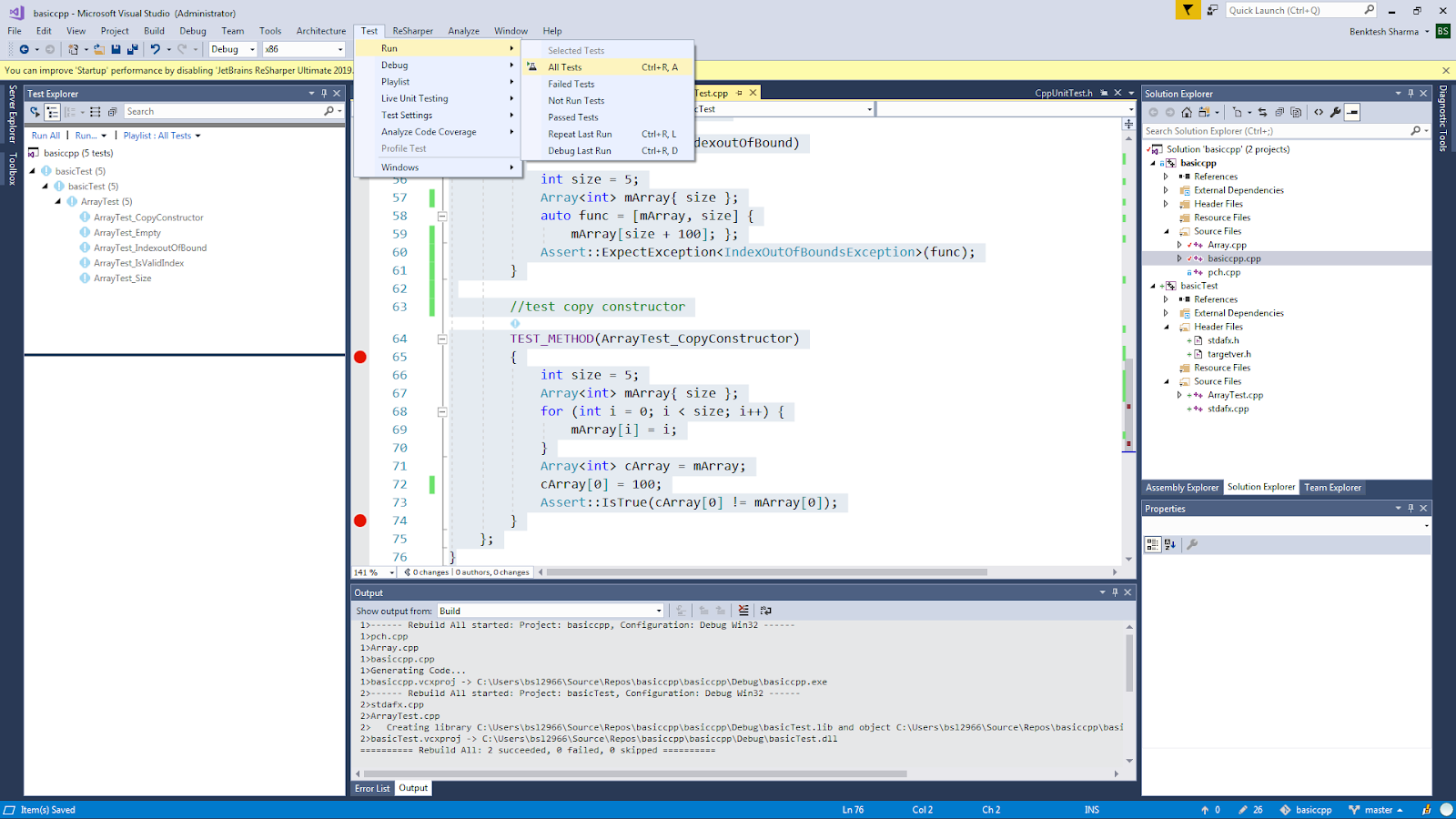 Software Development: Unit Testing C++ Code with Visual Studio