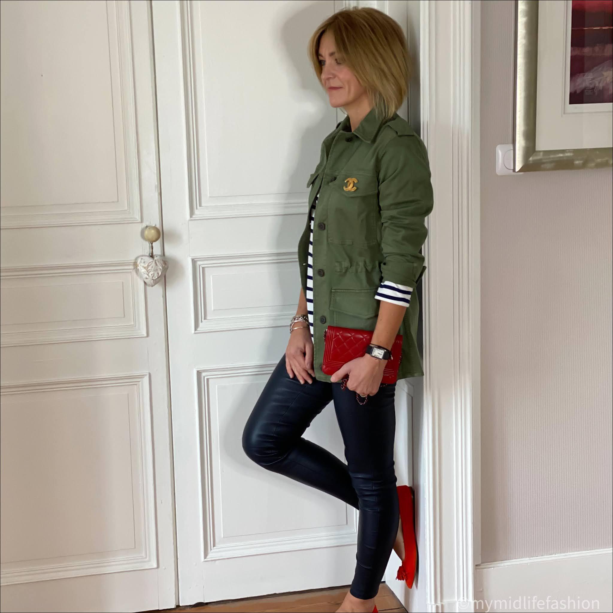my midlife fashion, Chanel brooch, baukjen Layla organic top, baukjen drake organic utility jacket, uterque leather leggings, Chanel wallet on chain, j crew pointed tassel flat pumps