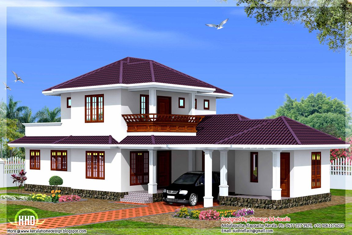 3 bedroom 1873 kerala style villa kerala home for Kerala style 2 bedroom house plans