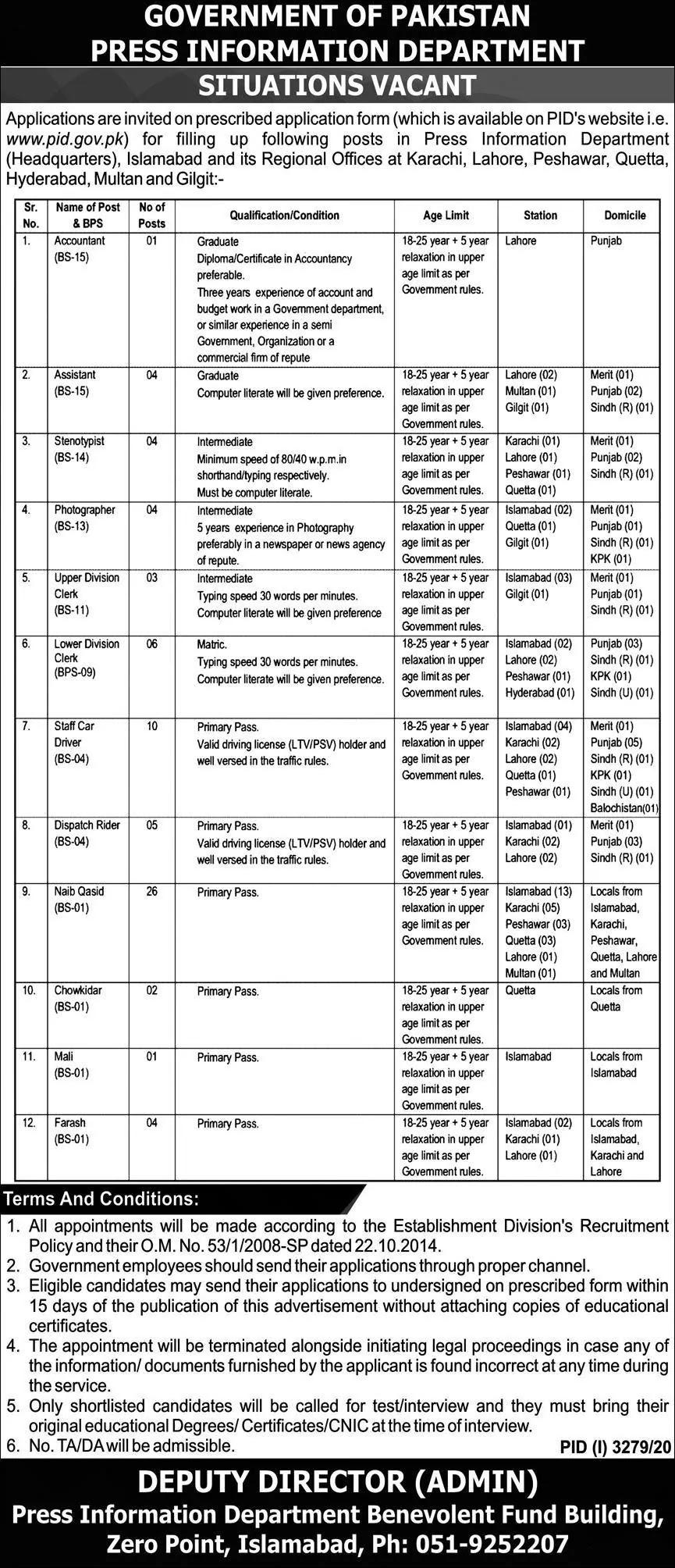 Press Information Department Jobs 2021