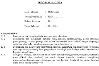Program Tahunan Matematika Kls 9 SMP Tahun Pelajaran 2021