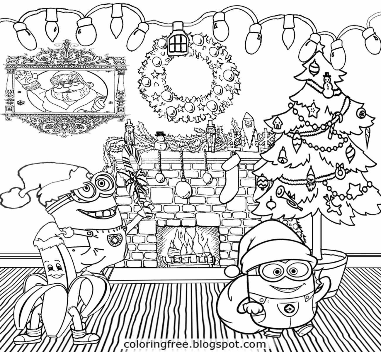 coloring minion pages with santa - photo#27