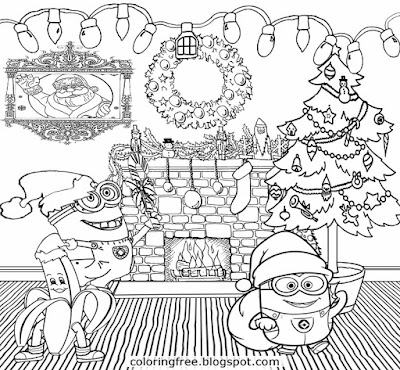 Holiday decorations merry christmas minions coloring pages cool things to draw for older children