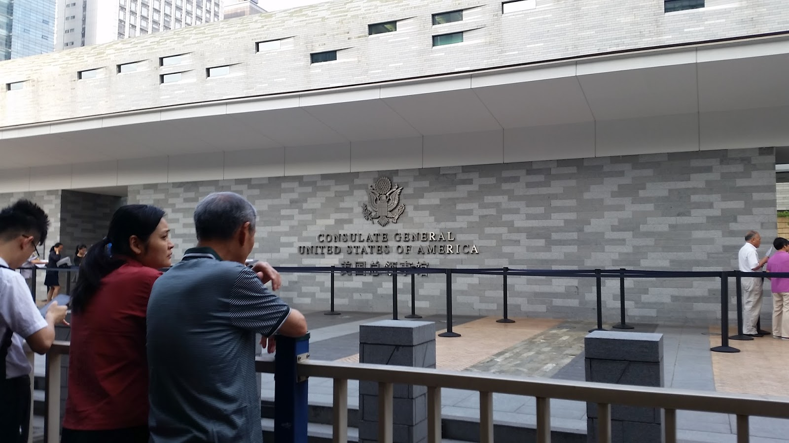 this is the u s consulate building they issue 2000 u s visas business day for chinese who wish to visit or work in the u s
