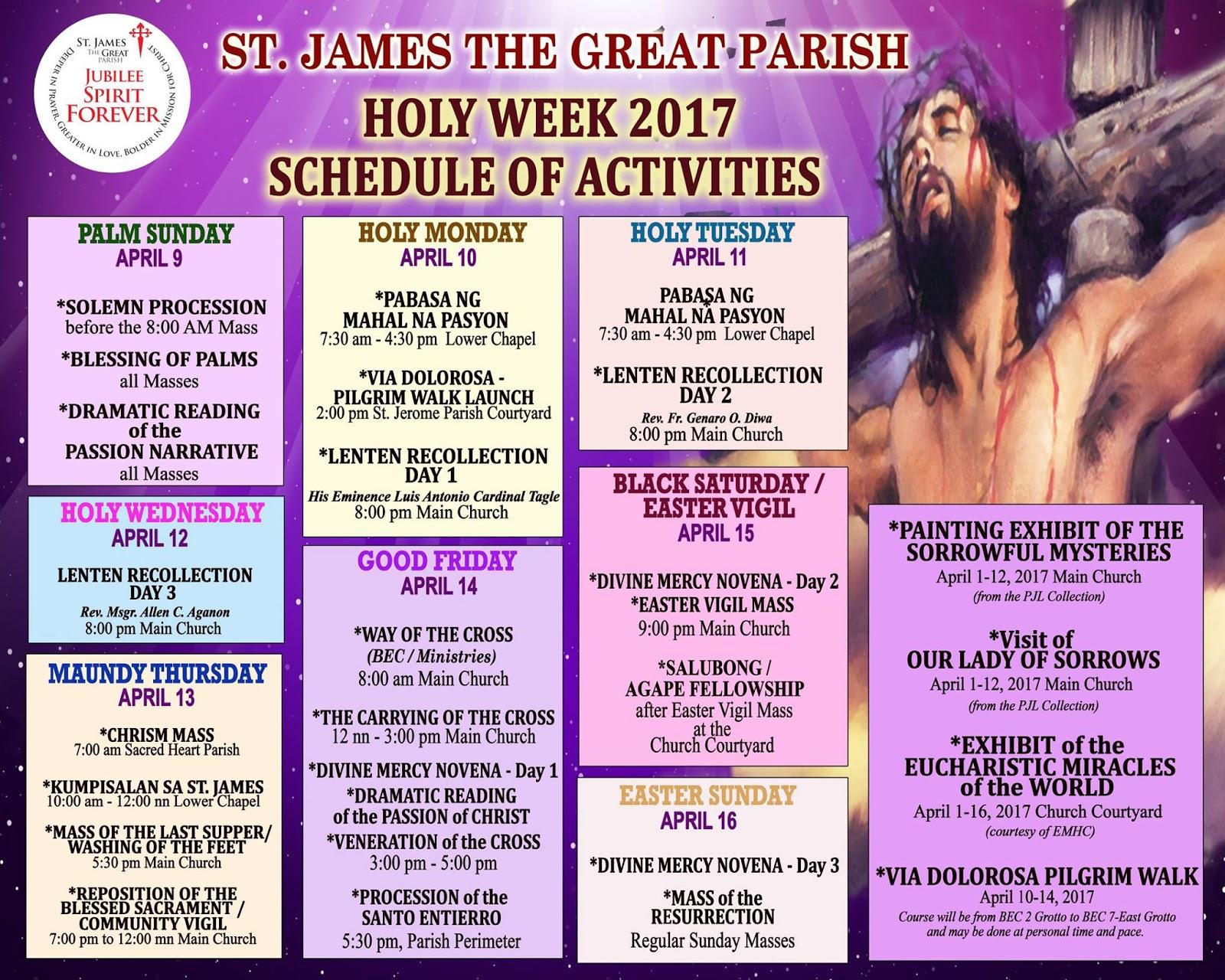 Names for the Holy Week 2017, church calendar names 55