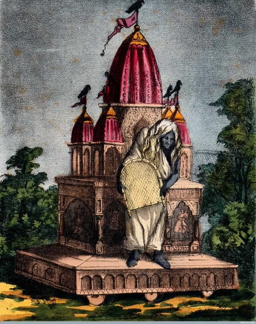 Goddess Dhumavati, One of the Mahavidya - Vintage Print, Late 19th Century