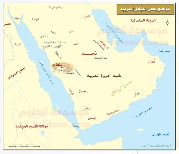 أوقّع على الخارطة مواطن القبائل    التالية: (ثقيف، بنو حنيفة، وبنو سعد).