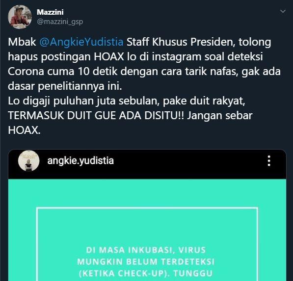 Angkie Yudistia sebar hoax