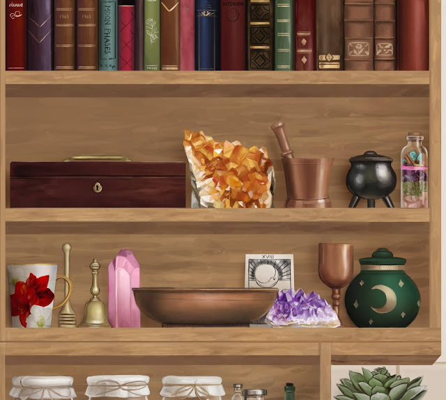 A close-up of Wynona's altar. It displays such items as crystals, an offering bowl, a bell, a small cauldron, a chalice and Wynona's favourite tea mug.