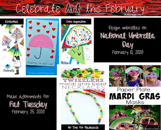 Art activities to honor National Umbrella Day and Fat Tuesday