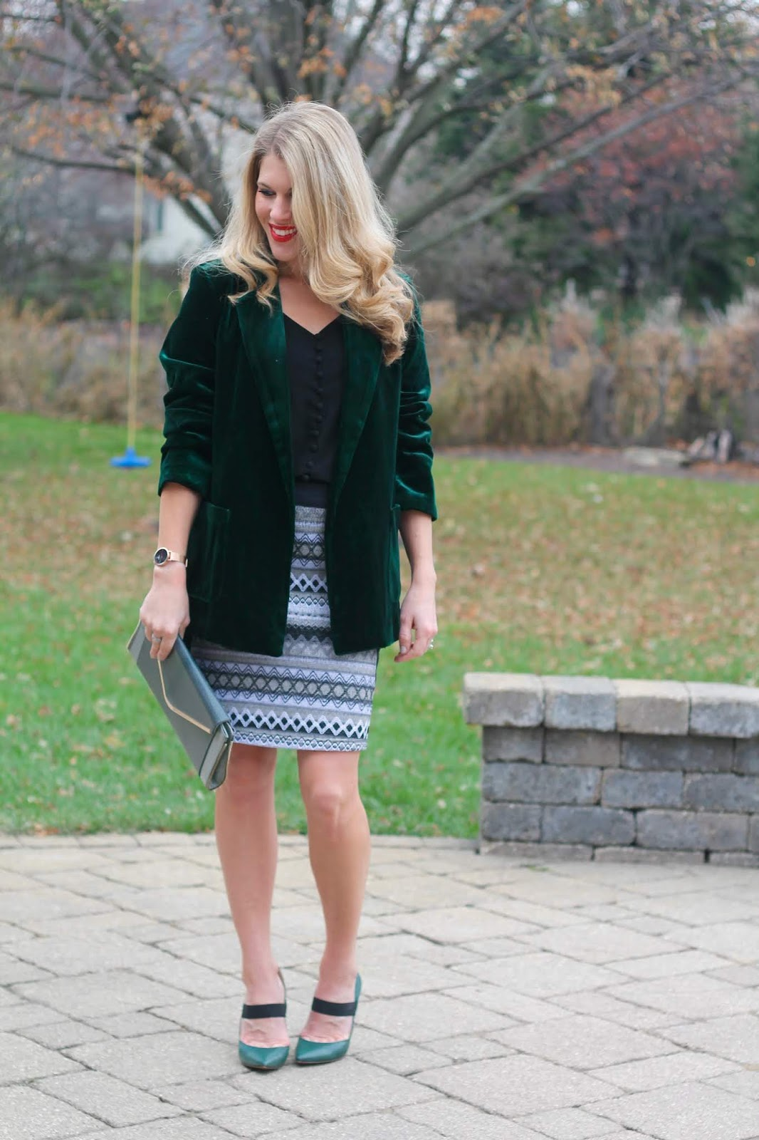ggreen velvet blazer, holiday outfits, aventura jacquard skirt, black button up cami, grey envelope clutch, starking watch review, giveaway, cotton underwear