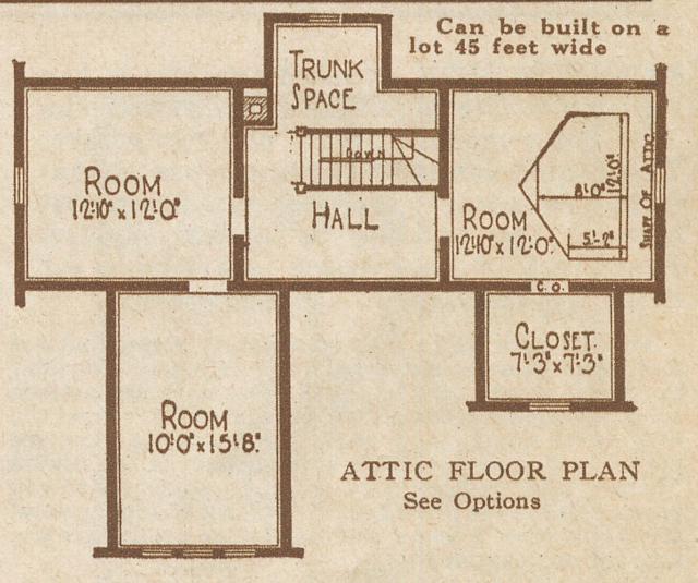 catalog image of Sears Kilbourne upstairs floor layout 1925 sears modern homes catalog