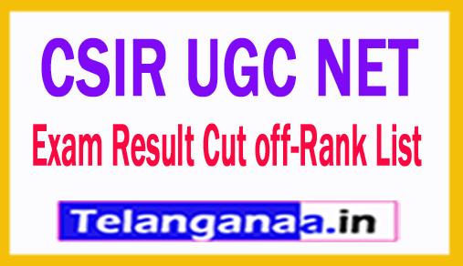 CSIR UGC NET 2017 Exam Result Cut off-Rank List - Selections