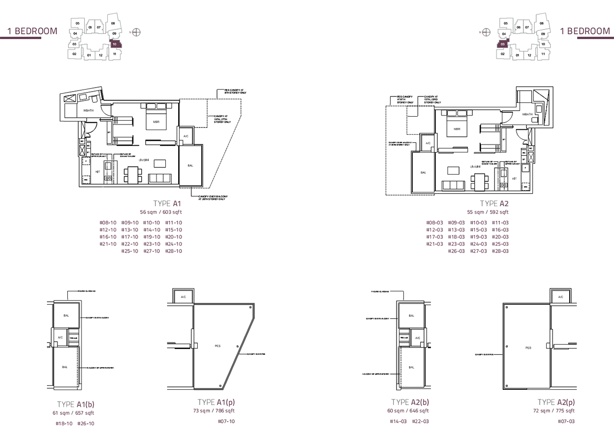 cairnhill nine 1 bedroom type A1-A2