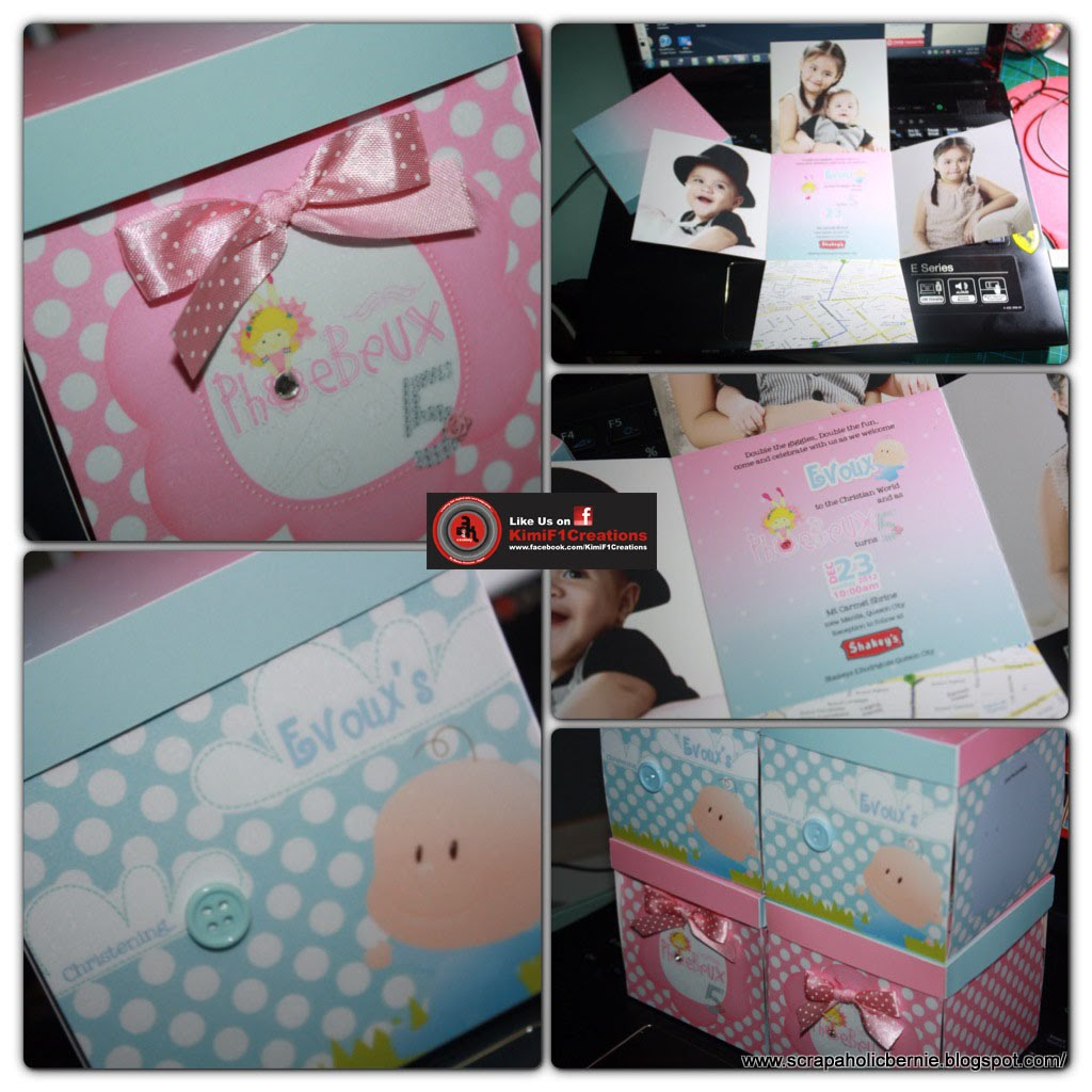 This Exploding Box Photo Album Is So Unique And Amazing: F1 Digital Scrapaholic: Baby Pink And Blue Box Invites