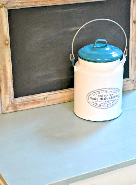 enamelware canister and chalkboard