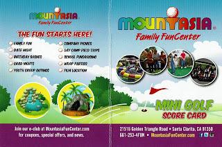 Minigolf scorecard from Mountasia Family Fun Center in Santa Clarita, California, USA